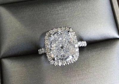 Platinum 4.18 Ct Cushion Cut Diamond Round Pave Engagement Ring  H VS1 GIA 2