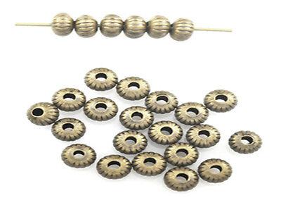 100 Antique Brass Plated Groovie Saucer Beads 4.5MM