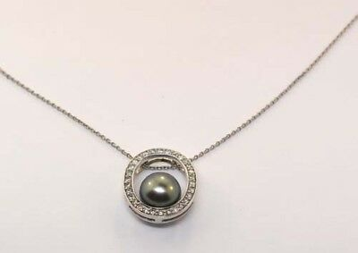 MIKIMOTO 14K WHITE GOLD PEACOCK PEARL DIAMOND PENDANT NECKLACE NEW WITH BOX