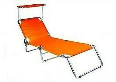 Sun Bed Foldable Orange with Parasol Sunbathing Aluminum for Sea Pool