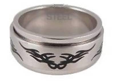 Tribal Design - Spinning Ring - Unisex - Steel - Choose Size: J M O Q S U W Y Z ()