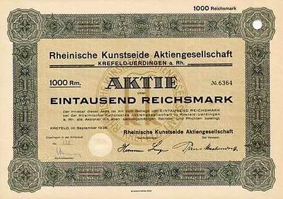 Rheinische Kunstseide Krefeld historische Aktie 1938 Phrix BASF Viskose Chemie