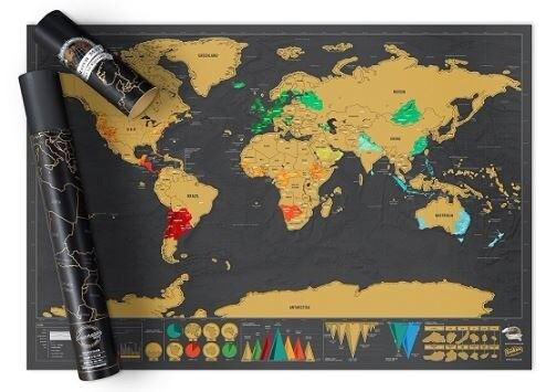 BRAND NEW Luckies of London Black & Gold Deluxe Scratch Map - Travel the World!
