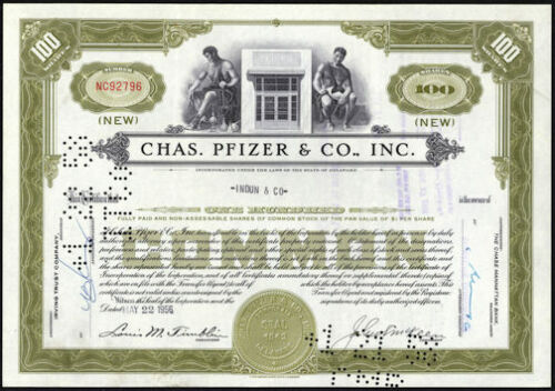 Chas. Pfizer & Co. Inc. Stock Certificate