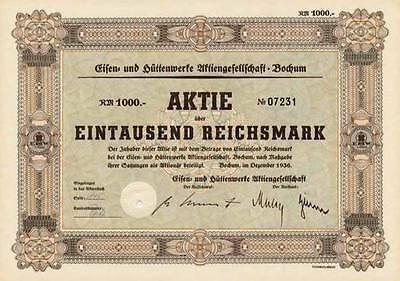 Eisen- und Hüttenwerke AG Bochum histor. Aktie 1936 Andernach EHW Rasselstein