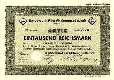 Lot 10 x UfA Universum Film AG Berlin hist. Aktie 1942 Bertelsmann RTL / Kino