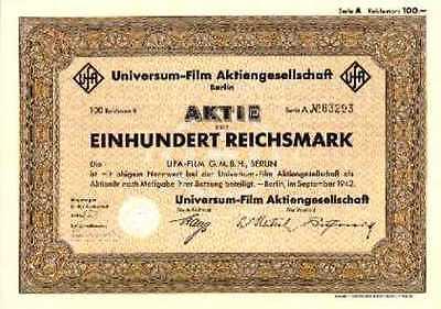UfA Universum Film AG Berlin hist. Aktie 1942 mit Zession - New York / RTL Kino