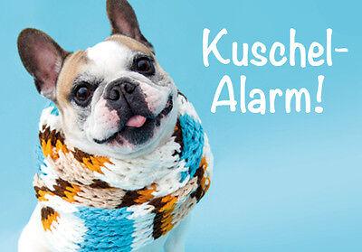 """Kühlschrank Magnet Magnete Hund Bulldogge Bulli mit Schal """"Kuschelalarm!"""""""