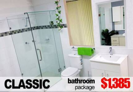 COMPLETE BATHROOM PACKAGE WITH SHOWER, VANITY, MIRROR AND MORE