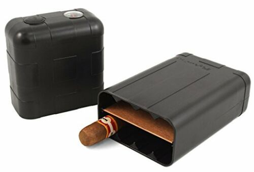 Perfecto XLT 8 Cigar Travel Humidor Case W/ Hygrometer Humidifier Cedar Insert