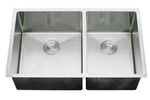 Big/Little 60/40 Split Small Radius Stainless Sink - 32 x 19 x10 DIRECT FROM IMPORTER