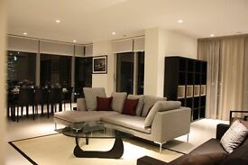 Luxury three bed, three bath designer furnished apartment set on the 39th floor of the Pan Peninsula