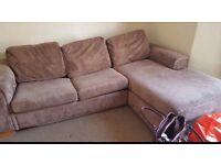 Beige corner sofa bed
