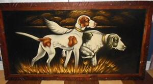 Large vintage painting of hunting dogs, with a carved wood frame London Ontario image 2