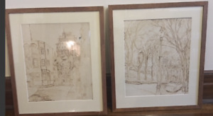 Print drawings - set of two scenes of Montreal circa 1950