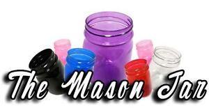 2 26 OZ Plastic Mason Jars & 2 Plastic Lids Cups BPA FREE! ~MADE IN THE USA~