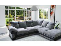 Dino jumbo cord fabric sofas / 3+2 seater sofa set or corner sofa in grey/black or beige/brown