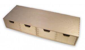 stabiles Schubladen-Regal, Wandregal, mit 4 Schubladen, Holz unbehandelt