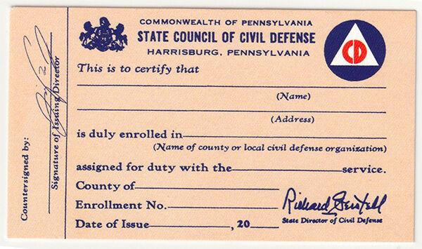 3 State Council of Civil Defense Member Loyalty Oath Cards Cold War Reproduction