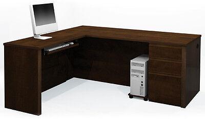 Bestar Prestige L Computer Desk With Keyboard Shelf In Chocolate - 99860-1469