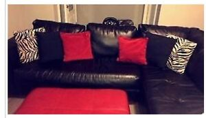 ***Black Leather Sectional*** Strathcona County Edmonton Area image 1