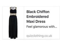 Brand New - Black Chiffon Embroidered Maxi Dress - Size 16 - £45