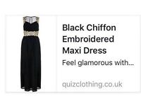 Brand New Black Chiffon Embroidered Maxi Dress size 16 - £45