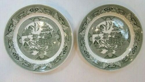 """Royal China pair of Green Willow dinner plates 10"""" Pristine"""