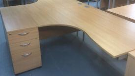 office corner desk left right corner Lee Plumpton with 1 pedestal