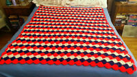 "Hand Crochet Afghan Blanket - For Bed or Chair - 60"" x 47"""