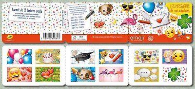 france 2018 booklet messengers emotions emoji emoticon bird flower heart 12v mnh
