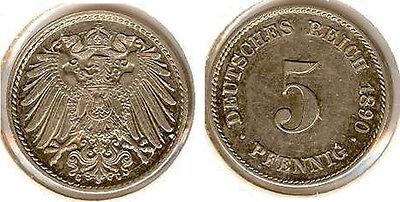 Kaiserreich  5 Pfennig 1890 G  vorzüglich bis stempelglanz