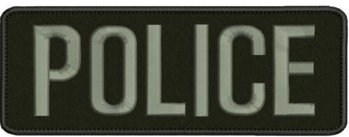 POLICE embroidery patch 3x8 hook grey letters