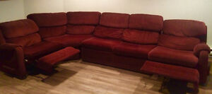 Elran Sectional with Bed and Two Recliners (Lifetime Warranty)