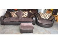 DFS Brown Leather&Fabric Large Settee/Swivel Cuddle Chair/Storage Foostool.WE DELIVER