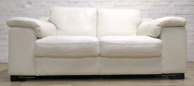 Contemporary White Leather Sofa (DELIVERY AVAILABLE)