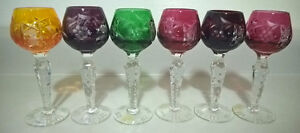 Vtg.Bohemian Czech Ajka Cut To Clear Crystal Colorful Shot Glass