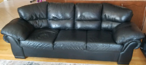 2 beautiful, black FULL LEATHER couches