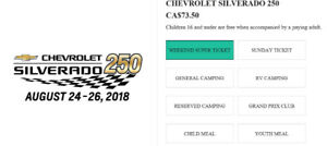 Chevrolet Silverado 250, 4 Weekend Supertickets Aug24-26