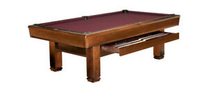 Brunswick 8' Bridgeport Chestnut pool table with drawer