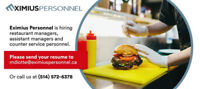 Counter Service Staff/Cashiers - Quick Food Service