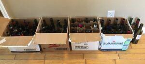 Bouteilles de vin vide à vendre/ empty bottles of wine for sale