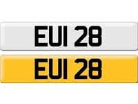 EUI 28 Dateless Personalised Cherished Number Plate Audi BMW M3 Ford VW Mercedes Kia Vauxhall