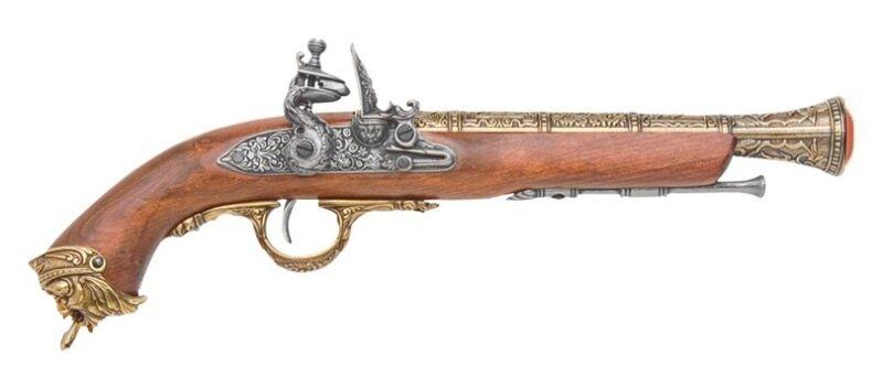 Denix Pirate 18th Century Flintlock Blunderbuss Pistol Replica Gun - Brass