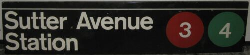 Original Sutter Ave Station BROOKLYN New York City SUBWAY Porcelain ENAMEL Sign