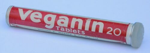 Veganin Tablets vintage aluminium tin / tube - WILLIAM R. WARNER & Co. empty
