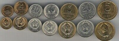 Russia Soviet Union last set of 7 coins 1 2 3 5 10 15 20 kopeek 1987 1991 UNC for sale  Shipping to South Africa