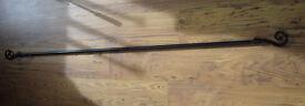Black extending CURTAIN POLE 5' - 8' ( 1.5m - 2.4m )