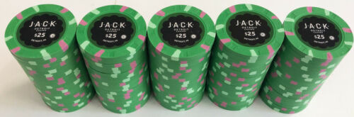 100 $25 JACK CASINO PAULSON POKER CHIPS