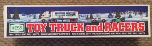 1997 Hess Toy Truck and Racers -2 Plastic Friction Racing Cars  New In Box